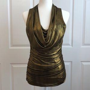 Express Black Gold Cowl Neck Sleeveless Blouse